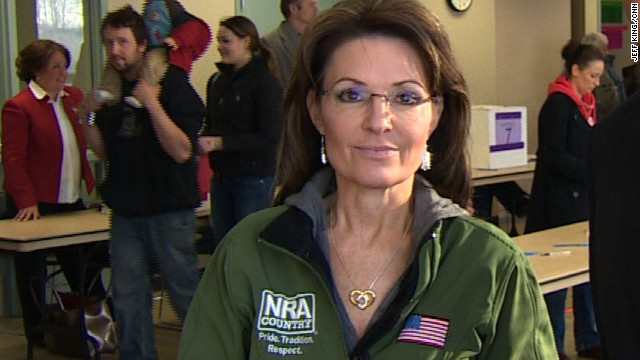 Sarah Palin gives her take on the campaign at a caucus site in her hometown of Wasilla, Alaska, on Super Tuesday.