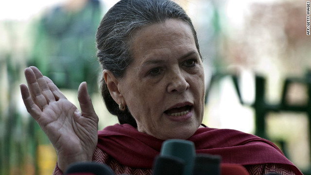 India's Congress party president Sonia Gandhi speaks after defeat in local elections.