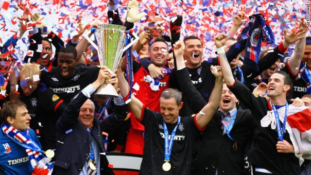 Glasgow Rangers secured a record-extending 54th Scottish league title at the end of the 2010-11 season with a thumping 5-1 win at Kilmarnock on the final day.