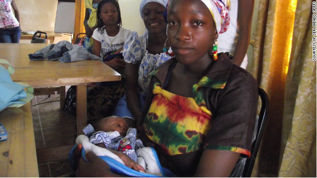 A 17-year-old mom in a youth centre in Monrovia, Liberia. She is one of the young girls participated the