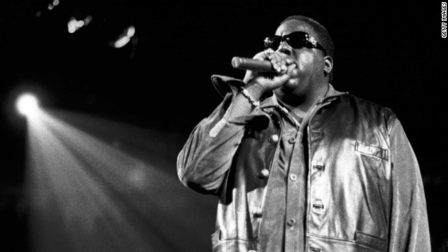 Notorious B.I.G., shown here performing at Madison Square Garden in 1995, 