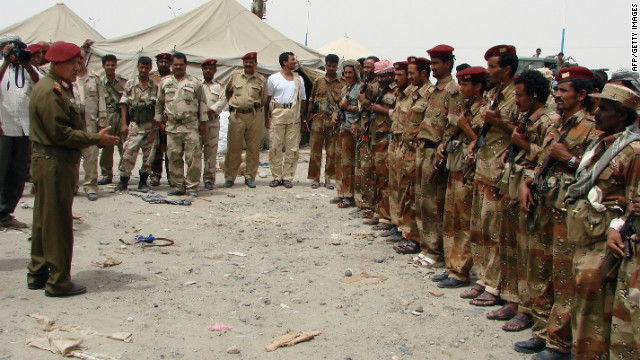 Yemeni General Ali Salah visits soldiers in Yemen's restive Abayan province on March 6, 2012.