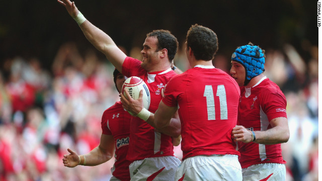 Jamie Roberts celebrates his try for Wales in their Six Nations win over Italy in Cardiff.