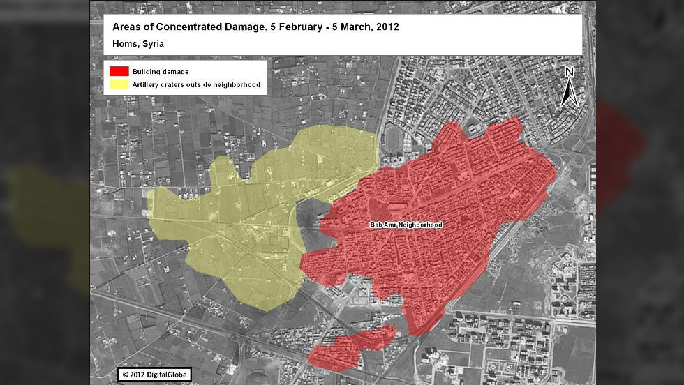 This illustrated satellite image shows areas of concentrated building damage and artillery craters in Homs, Syria.