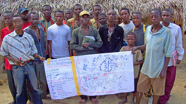 "The ""Mapping for Rights"" program trains forest people in the Congo Basin to map the land they live on<!-- -->.</br><!-- --> </br> Pictured is an early sketch map produced by an indigenous community in the Inongo territory, in the Democratic Republic of Congo."