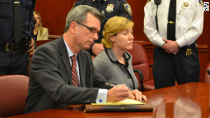 Anna Gristina sits next to attorney Peter Gleason in the State Supreme Court in New York City on Monday.