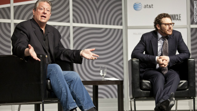 Former Vice President Al Gore and Napster co-founder Sean Parker speak during South by Southwest in Austin, Texas.