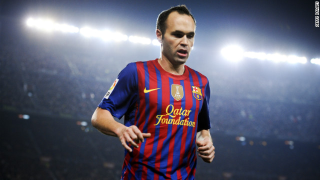 Barcelona's midfield star Andres Iniesta wears a shirt bearing the name of sponsor the Qatar Foundation. Spain's European champions had, until late 2010, never allowed such kit endorsement.