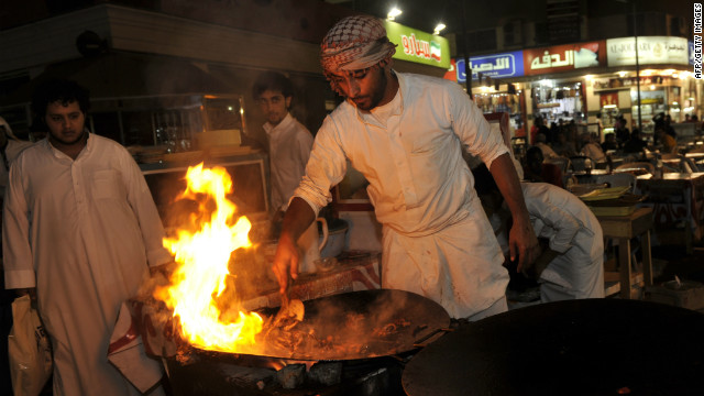 A traditional Saudi dish of shredded meat being prepared in an outdoor restaurant in Jeddah, Saudi Arabia. Smarter restaurants are slowly developing in the city.