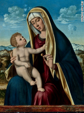 Pasqualino Veneto's oil on panel painting of the Madonna and Child, on view at Moretti Fine Art's stand, was once owned by France's Napoleon III.