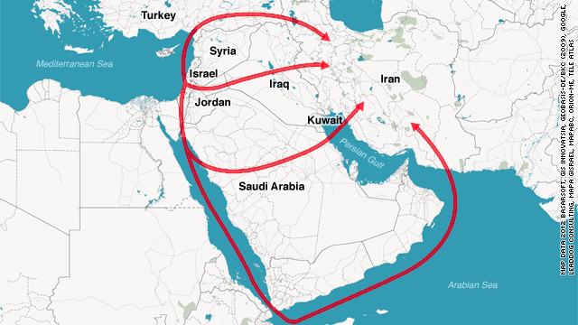 Possible flight routes Israeli fighters could use on a potential attack on Iran.