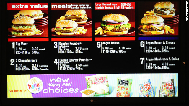 Mcdonald S To Include Calorie Counts On Menu Boards But