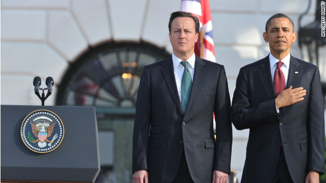 President Barack Obama and British Prime Minister David Cameron at a state welcoming ceremony at the White House.