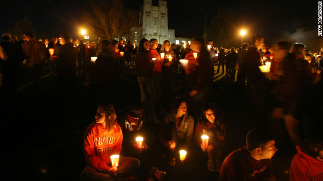 Mourners in Blacksburg, Virginia, hold a candlelight vigil on Virginia Tech's campus in 2008, a year after the massacre.