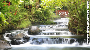 The spa is located at the base of the Arenal Volcano.