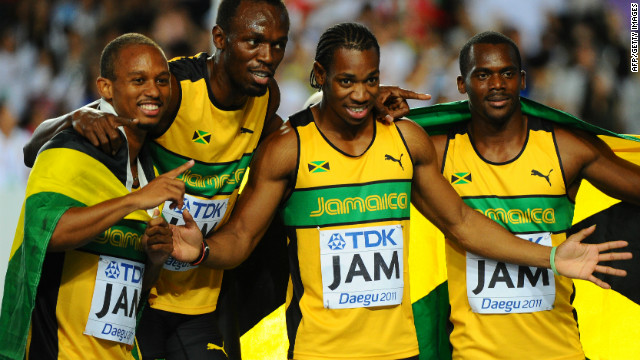 Jamaica's men secured their status as the undisputed sprint kings of the world as Blake's success at the 2011 World Championships was complemented by Bolt's 200m win and victory in the men's 4x100m . Jamaica also did the treble in 2009 and at the Olympics the year before.
