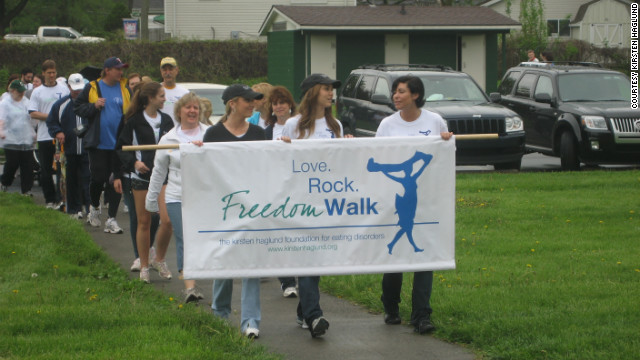 Haglund walks to raise money for the awareness and treatment of eating disorders. The Freedom Walk was held by the Kirsten Haglund Foundation in Michigan in 2011.