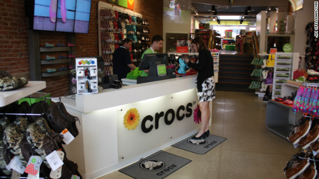 To showcase its new designs, Crocs has opened 120 stores in the United States -- like this one in Boulder, Colorado -- and it hopes to open another 100 stores this year. And new markets are discovering the shoes: 65% of the company's sales are overseas.