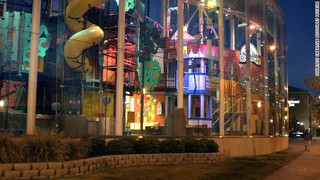The Creative Discovery Museum is fronted by a 2½ story play area.