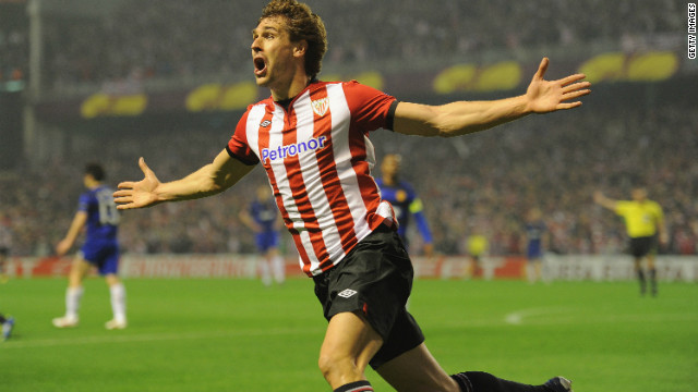 Athletic Bilbao's Fernando Llorente celebrates his stunning strike against Manchester United in the second leg of the Europa League last-16 tie. The La Liga side won 5-3 on aggregate. 