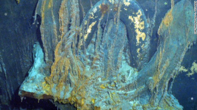 The starboard anchor of the Titanic pictured 12,500 feet below the surface of the North Atlantic.