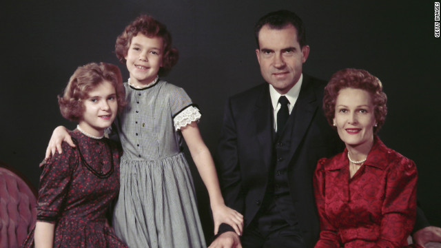 A 1955 photo of then-Vice President Richard Nixon and his family, (from left) daughters Tricia and Julie, and wife Pat.