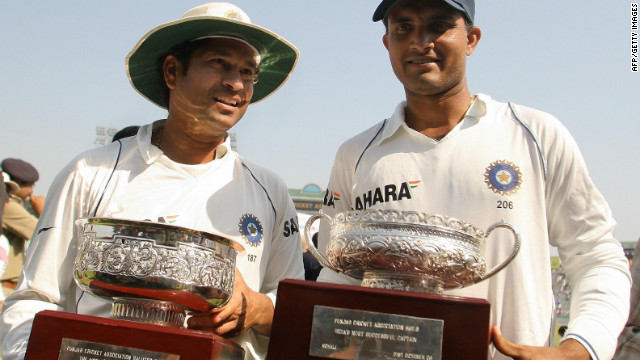 Tendulkar, left, became Test cricket's highst runscorer in October 2008 when he passed Brian Lara's previous record of 11,953 during a home series against Australia.