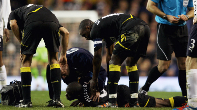 Fabrice Muamba collapses during match