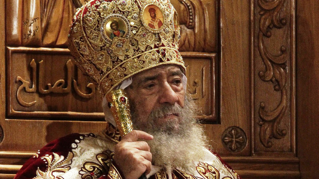 Pope Shenouda III leads Easter midnight Mass in Cairo, Egypt, in April 2011.