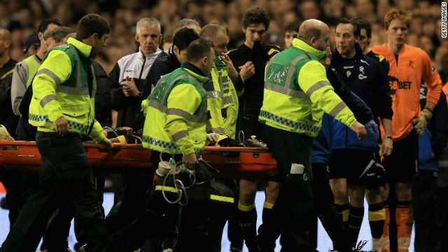 Muamba collapsed before halftime and the match was abandoned as he was taken to hospital after receiving several defibrillator shocks to restart his heart, which stopped for 78 minutes. He was discharged only a month later after making a remarkably quick recovery.
