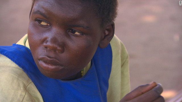 Pauline, 13, recovering from an attack but she has been out of school for several years. It takes her four hours to recover from an attack and each time her mental capacity seems weaker.