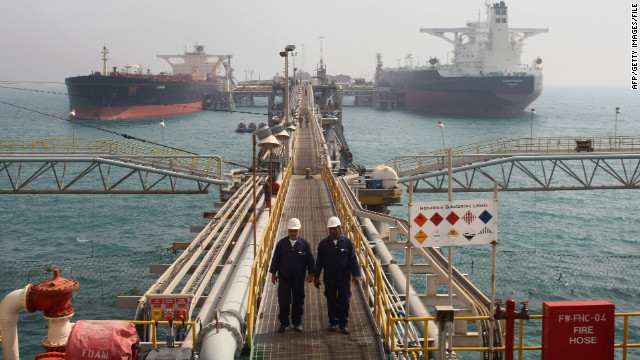 Oil tankers dock at the Basra harbor south of Baghdad in 2010. Iraq exports 2.2 million barrels of oil daily.