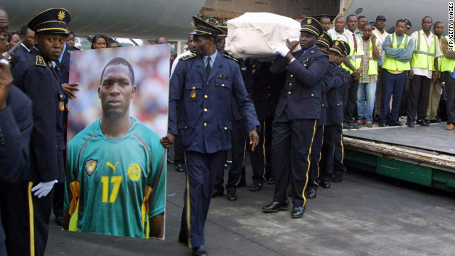 While Muamba made it to the hospital alive, Cameroon's Marc-Vivien Foe could not be revived after falling to the pitch during a Confederations Cup semifinal against Colombia in 2003. 