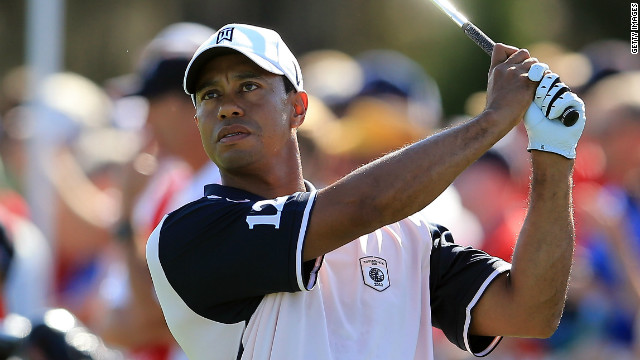 Tiger Woods was back in action at the Tavistock Cup just a week after suffering an Achilles injury