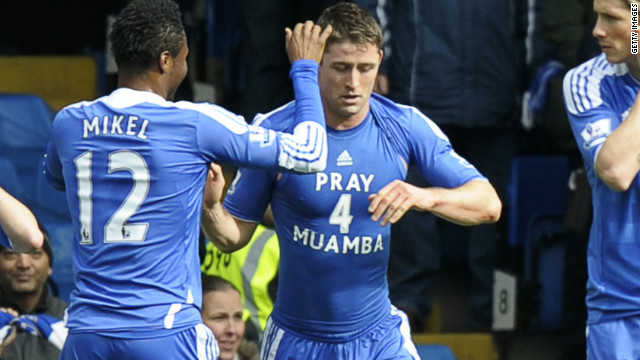 Muamba's former teammate Gary Cahill, who left Bolton to join Chelsea in January, revealed a t-shirt honoring his ex-colleague after scoring against Leicester City on Sunday.