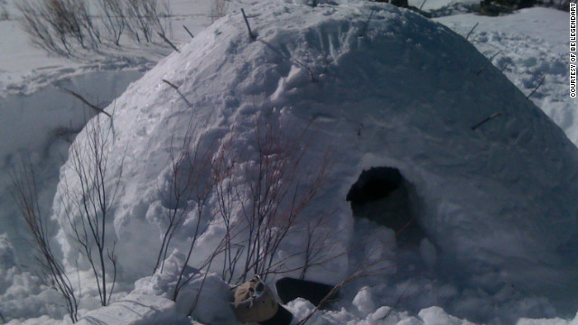 A &quot;quinzhee&quot; snow shelter prepared by a corporate participant on a &quot;Deep Snow Survival&quot; retreat in the San Juan range in the Rocky Mountains.