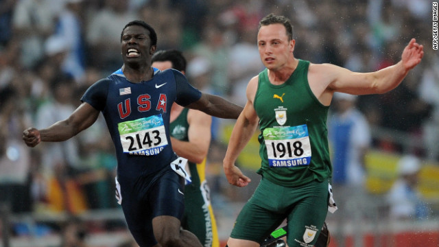Pistorius held off Jerome Singleton of the United States to win gold over 100m in the T44 class at the 2008 Beijing Paralympics. He also won the 200 and 400m events in the Chinese capital.