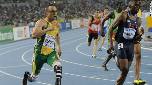Pistorius competed in the semifinals of the able-bodied men's 400m at the 2011 World Championships in Daegu in South Korea. 