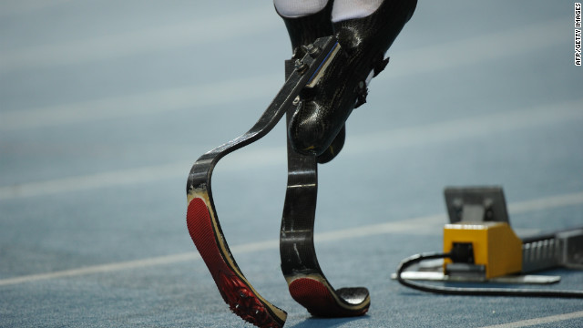 A close of view of the specially designed prosthetic carbon-fiber blades which Pistorius uses for track and field events.