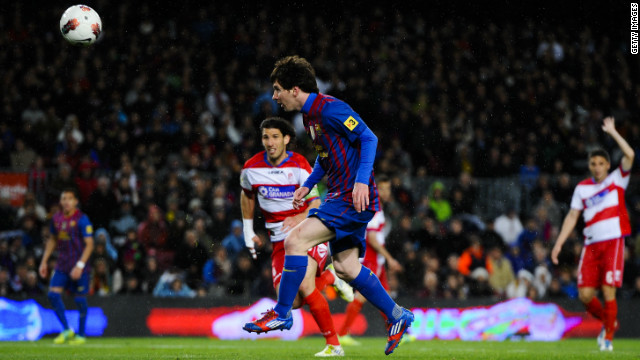 Lionel Messi's hat-trick against Granada took his tally for Barcelona to 234 and past the club's previous highest scorer, Cesar Rodriguez, who notched 232. The 24-year-old secured the record with this cheeky chip.