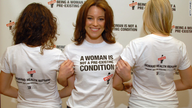 Actress Elizabeth Banks, center, draws attention to a 2009 health care reform campaign by the National Women's Law Center.