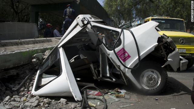 This bus was crushed when a concrete bridge collapsed after the earthquake that struck southern Mexico.