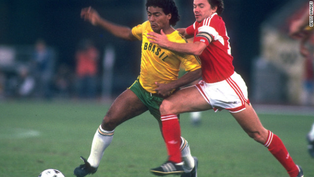 Future World Cup winner Romario battles for the ball in the Brazilian Olympic team's 2-1 defeat by the Soviet Union in the final of the 1988 tournament in Seoul.