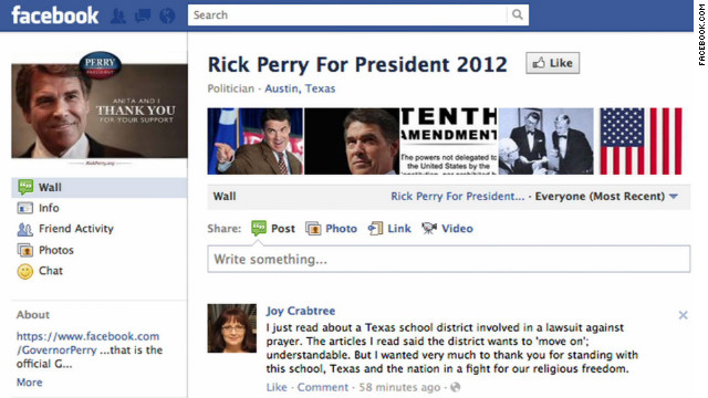 Engage: Women take Rick Perry to the task on Facebook