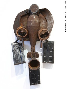 A mask from Goncalo Mabunda's recent exhibition in London. Gallery owner Jack Bell says the work references traditional African art, as well as European modernist pioneers such as Pablo Picasso and Georges Braque.