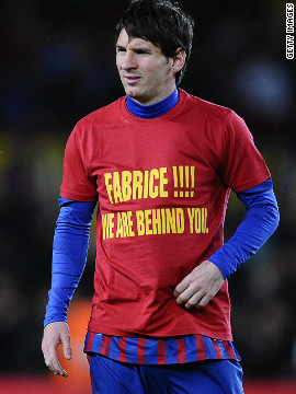Barcelona's Lionel Messi wore a t-shirt with a message of support for Muamba before Wednesday's game with Granada, in which the Argentina striker scored a hat-trick and became the club's leading goalscorer of all time.