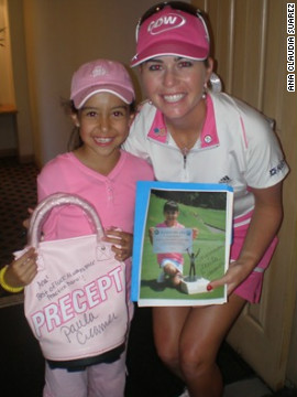 Creamer also helps young kids develop their golfing skills through her foundation. She is pictured here with Ana Claudia Rodriguez from Mexico, and constantly offers the 11-year-old advice and support.
