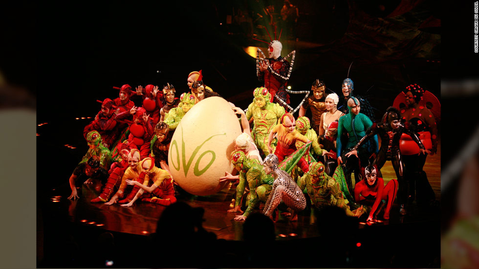 The Cirque du Soleil travelling show Ovo has opened at Santa Monica Pier in Southern California. Cirque du Soleil is internationally famous for presenting humans who perform astonishing acrobatics, contortions, juggling and trampoline and trapeze acts.