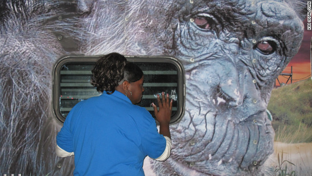 "At a gas station in Slidell, Louisiana, cashier Denise Johnson runs out of the store to greet the chimpanzees. ""I get to see them every time they come,"" says Johnson, who has greeted most of the 27 groups of chimps as they make their cross-country journey. Realizing that this is the final group of chimpanzees, Johnson starts to cry. ""Well I hope they're happy where they're going,"" she says."