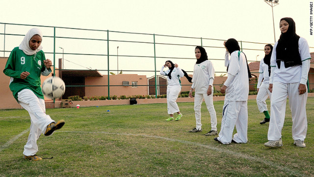 Saudi members of the King's United women's football club train at a stadium in Jeddah. 